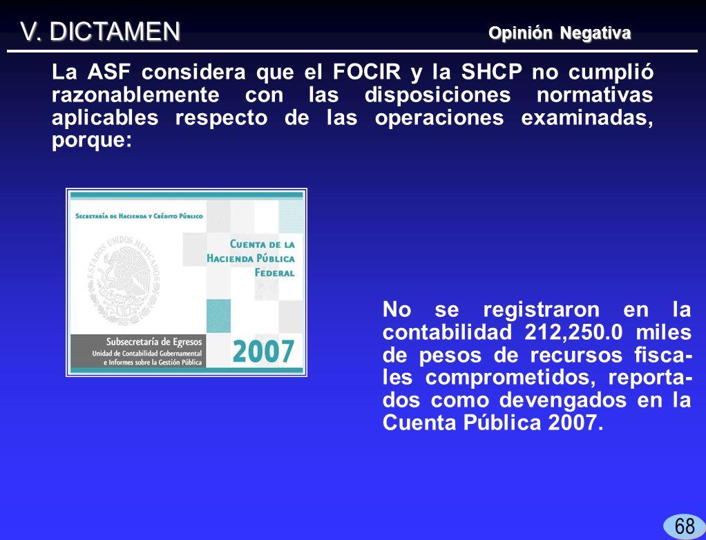 V. DICTAMEN No se registraron en la contabilidad 212,250.0 miles de pesos de recursos fisca- les comprometidos, reporta- dos como devengados en la Cue