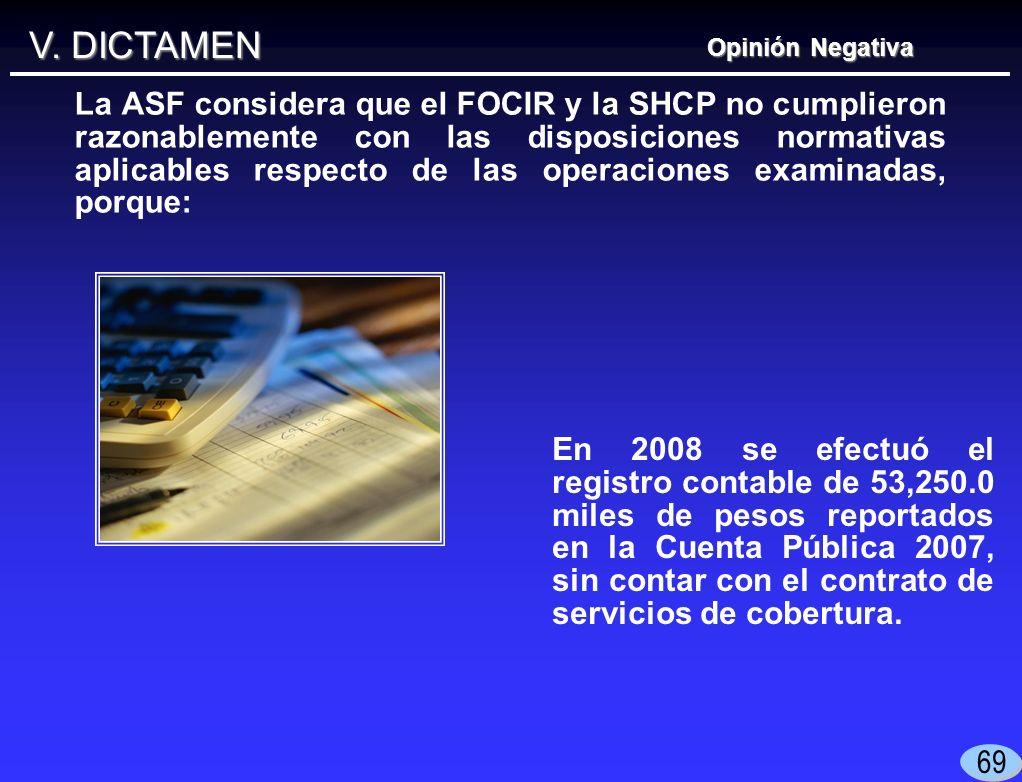 V. DICTAMEN Opinión Negativa En 2008 se efectuó el registro contable de 53,250.0 miles de pesos reportados en la Cuenta Pública 2007, sin contar con e