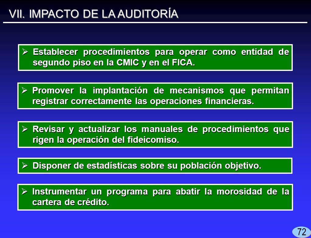 VII. IMPACTO DE LA AUDITORÍA Establecer procedimientos para operar como entidad de segundo piso en la CMIC y en el FICA. Establecer procedimientos par