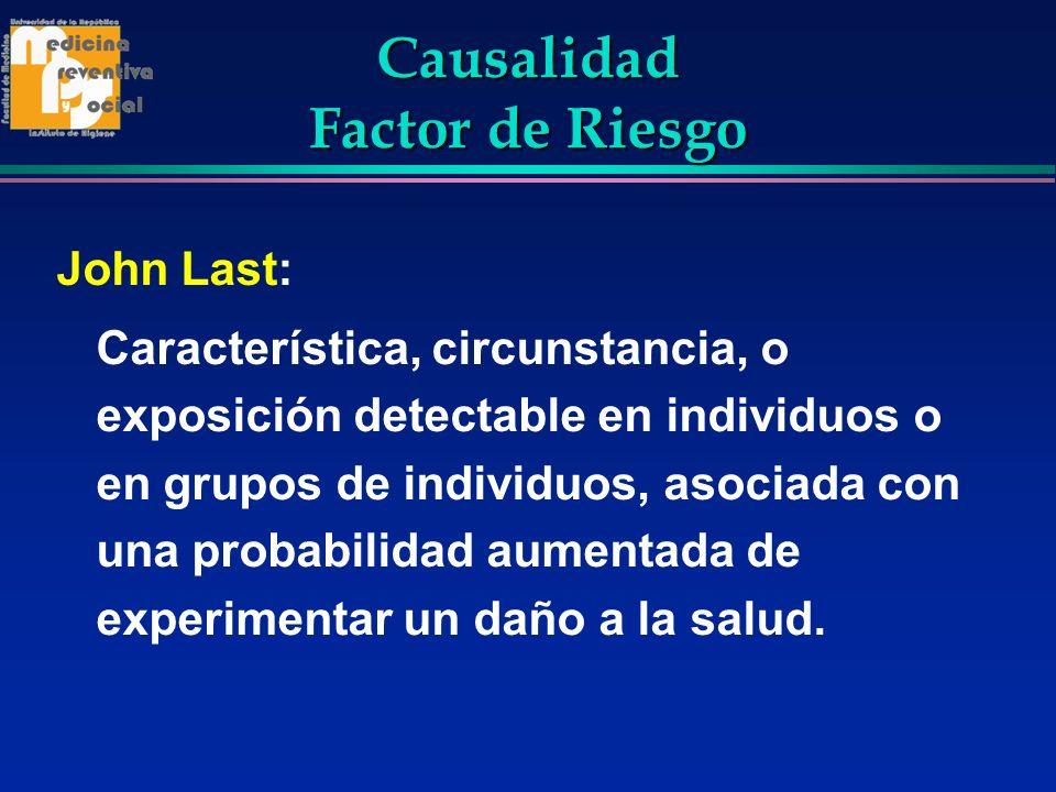 Causalidad Factor de Riesgo John Last: Característica, circunstancia, o exposición detectable en individuos o en grupos de individuos, asociada con un