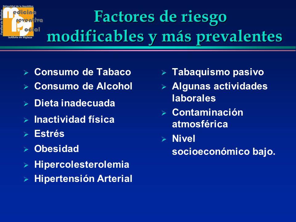 Factores de riesgo modificables y más prevalentes Factores de riesgo modificables y más prevalentes Consumo de Tabaco Consumo de Alcohol Dieta inadecu