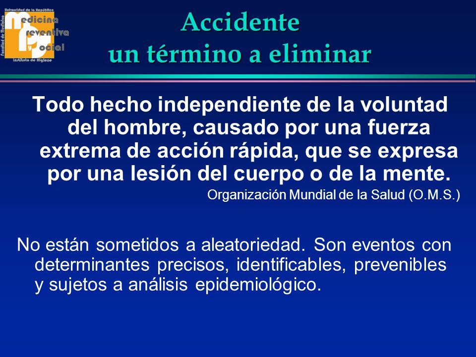 Accidente un término a eliminar Todo hecho independiente de la voluntad del hombre, causado por una fuerza extrema de acción rápida, que se expresa po