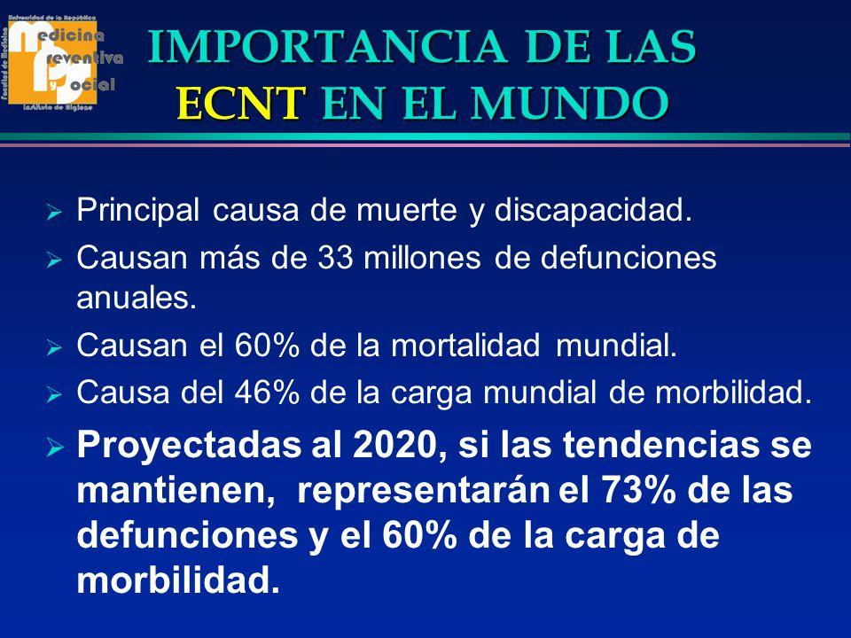 IMPORTANCIA DE LAS ECNT EN LAS AMÉRICAS Causa del 44 % de defunciones en hombres y del 45% en las mujeres menores de 70 años de edad.