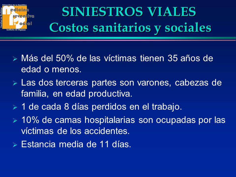 SINIESTROS VIALES Costos sanitarios y sociales SINIESTROS VIALES Costos sanitarios y sociales Más del 50% de las víctimas tienen 35 años de edad o men