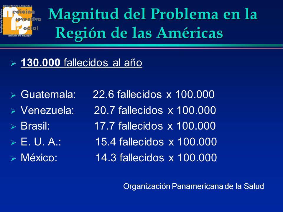 Magnitud del Problema en la Región de las Américas 130.000 fallecidos al año Guatemala: 22.6 fallecidos x 100.000 Venezuela: 20.7 fallecidos x 100.000