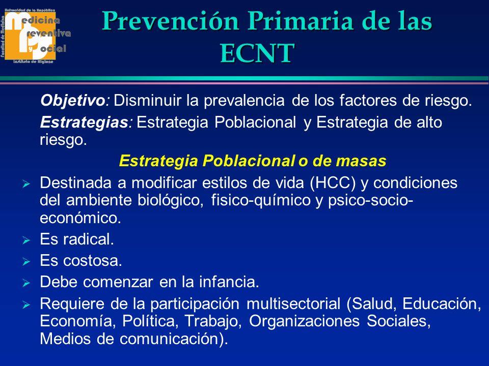 Prevención Primaria de las ECNT Prevención Primaria de las ECNT Objetivo: Disminuir la prevalencia de los factores de riesgo. Estrategias: Estrategia