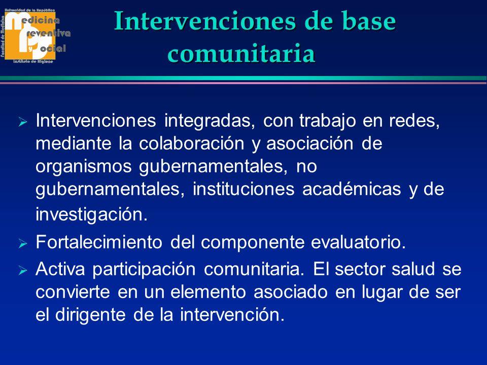 Intervenciones de base comunitaria Intervenciones de base comunitaria Intervenciones integradas, con trabajo en redes, mediante la colaboración y asoc