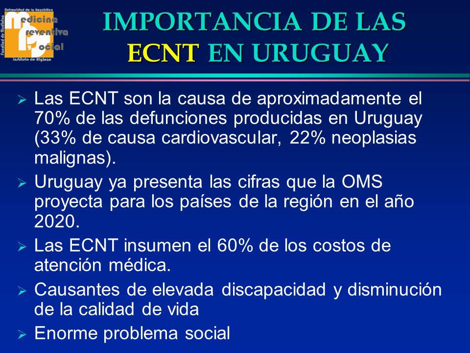 IMPORTANCIA DE LAS ECNT EN URUGUAY Las ECNT son la causa de aproximadamente el 70% de las defunciones producidas en Uruguay (33% de causa cardiovascul