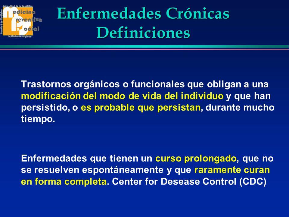 Enfermedades Crónicas Definiciones Trastornos orgánicos o funcionales que obligan a una modificación del modo de vida del individuo y que han persisti