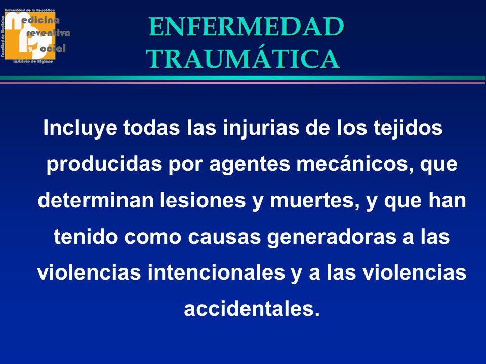 ENFERMEDAD TRAUMÁTICA ENFERMEDAD TRAUMÁTICA Incluye todas las injurias de los tejidos producidas por agentes mecánicos, que determinan lesiones y muer