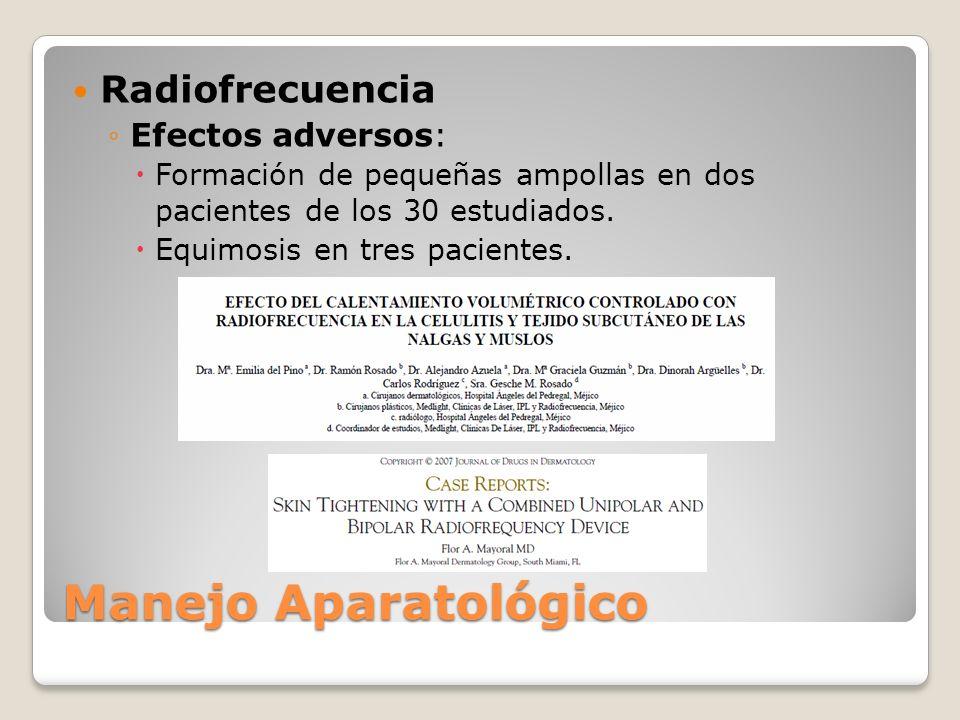 Radiofrecuencia Efectos adversos: Formación de pequeñas ampollas en dos pacientes de los 30 estudiados. Equimosis en tres pacientes. Manejo Aparatológ