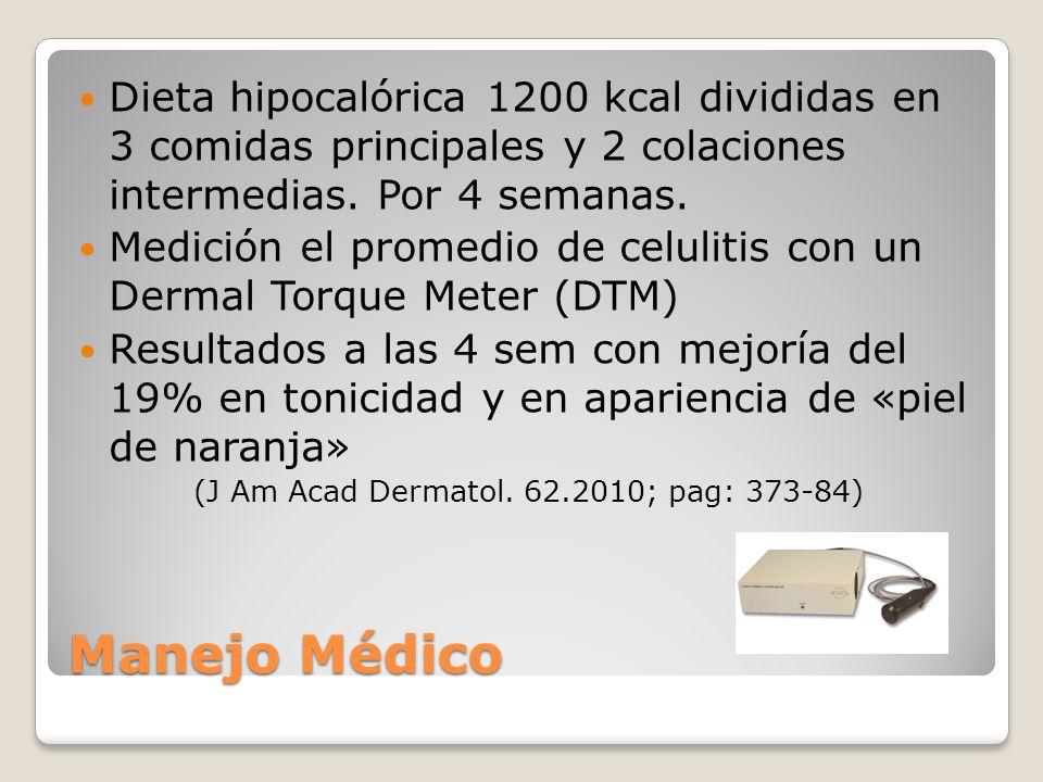 Dieta hipocalórica 1200 kcal divididas en 3 comidas principales y 2 colaciones intermedias. Por 4 semanas. Medición el promedio de celulitis con un De