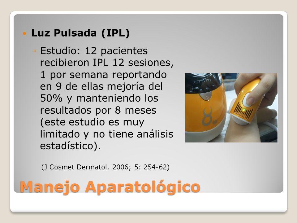Luz Pulsada (IPL) Manejo Aparatológico Estudio: 12 pacientes recibieron IPL 12 sesiones, 1 por semana reportando en 9 de ellas mejoría del 50% y mante