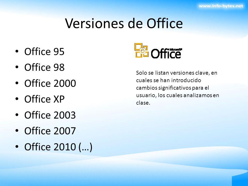 Versiones de Office Office 95 Office 98 Office 2000 Office XP Office 2003 Office 2007 Office 2010 (…) Solo se listan versiones clave, en cuales se han