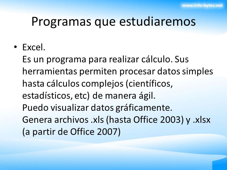 Programas que estudiaremos Excel. Es un programa para realizar cálculo. Sus herramientas permiten procesar datos simples hasta cálculos complejos (cie