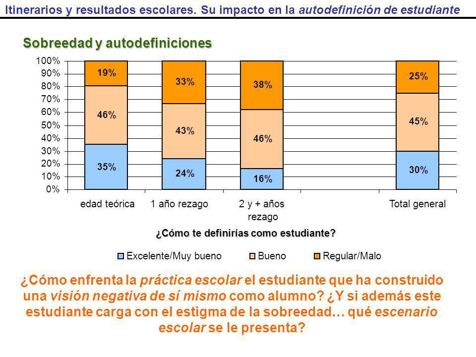 35% 24% 16% 30% 46% 43% 46% 45% 19% 33% 38% 25% 0% 10% 20% 30% 40% 50% 60% 70% 80% 90% 100% edad teórica1 año rezago2 y + años rezago Total general Excelente/Muy buenoBuenoRegular/Malo ¿Cómo te definirías como estudiante.