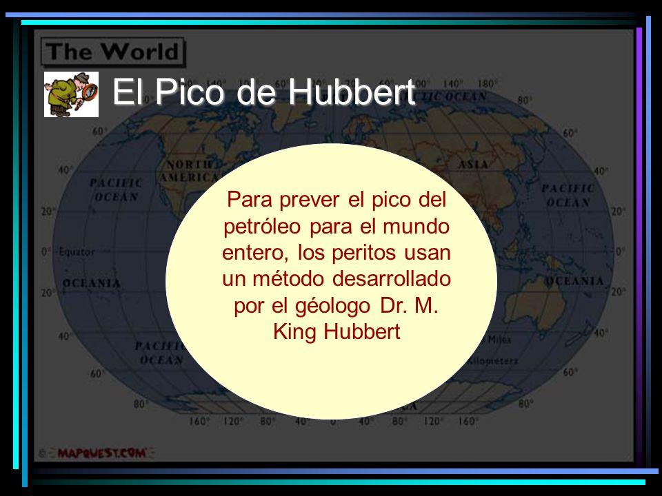 El Pico de Hubbert Para prever el pico del petróleo para el mundo entero, los peritos usan un método desarrollado por el géologo Dr.