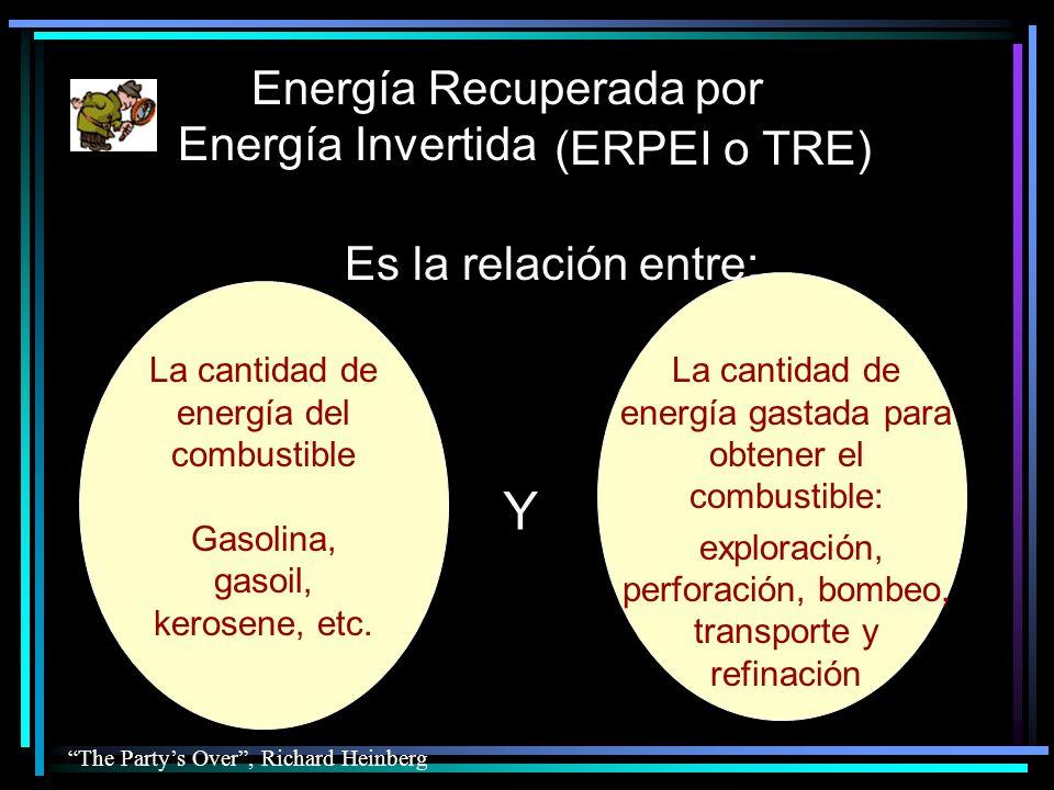 Energía Recuperada por Energía Invertida Es la relación entre: La cantidad de energía gastada para obtener el combustible: exploración, perforación, bombeo, transporte y refinación La cantidad de energía del combustible Gasolina, gasoil, kerosene, etc.