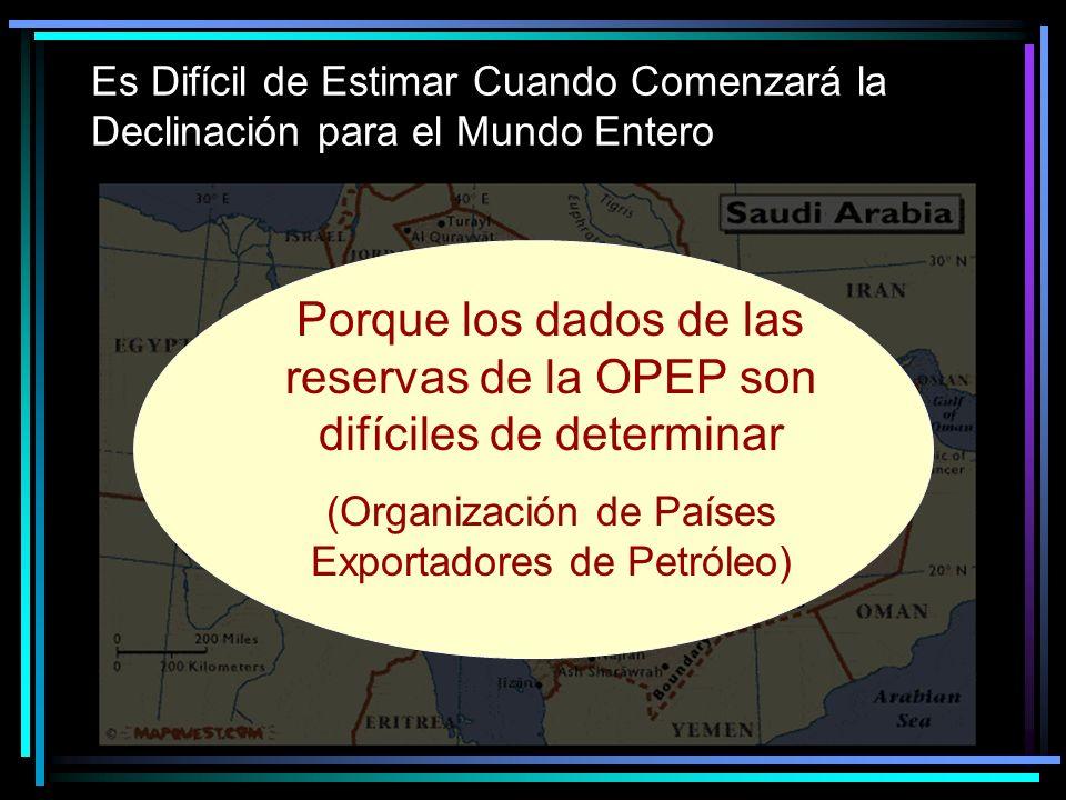 Es Difícil de Estimar Cuando Comenzará la Declinación para el Mundo Entero Porque los dados de las reservas de la OPEP son difíciles de determinar (Organización de Países Exportadores de Petróleo)