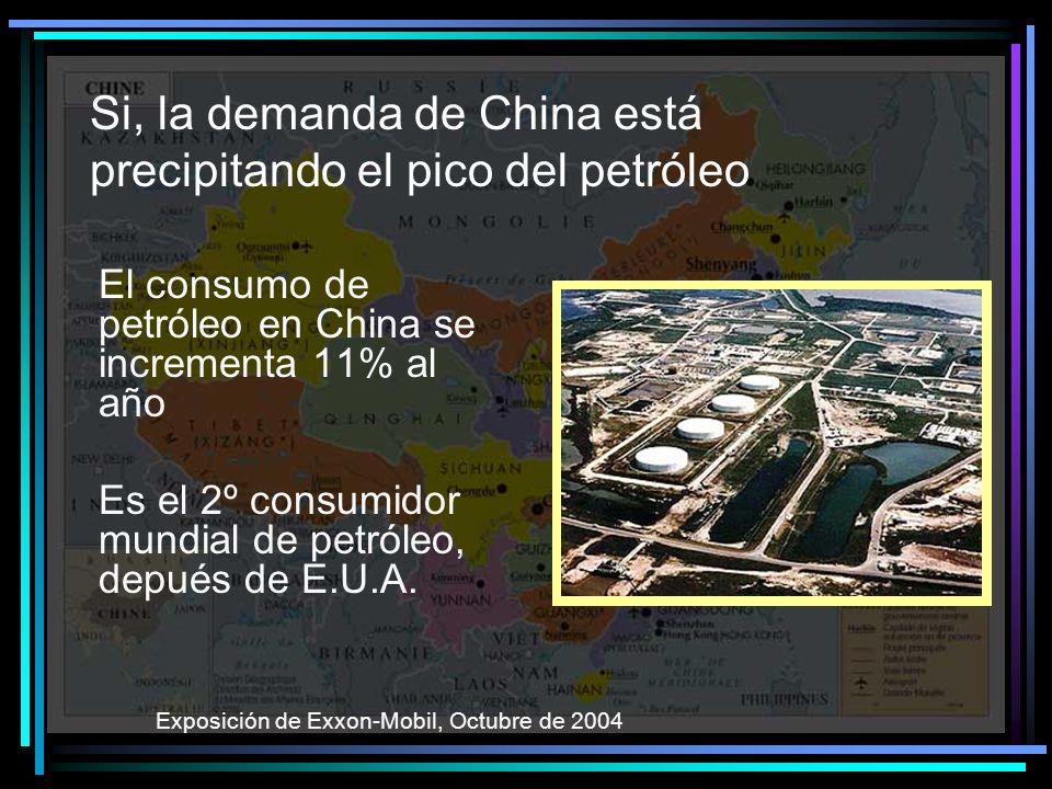 Si, la demanda de China está precipitando el pico del petróleo El consumo de petróleo en China se incrementa 11% al año Es el 2º consumidor mundial de petróleo, depués de E.U.A.