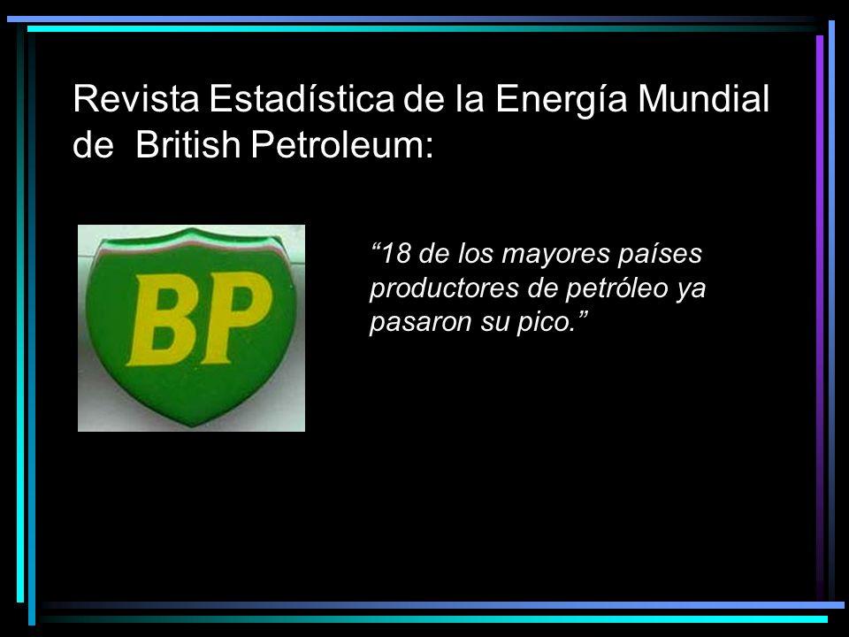 Revista Estadística de la Energía Mundial de British Petroleum: 18 de los mayores países productores de petróleo ya pasaron su pico.