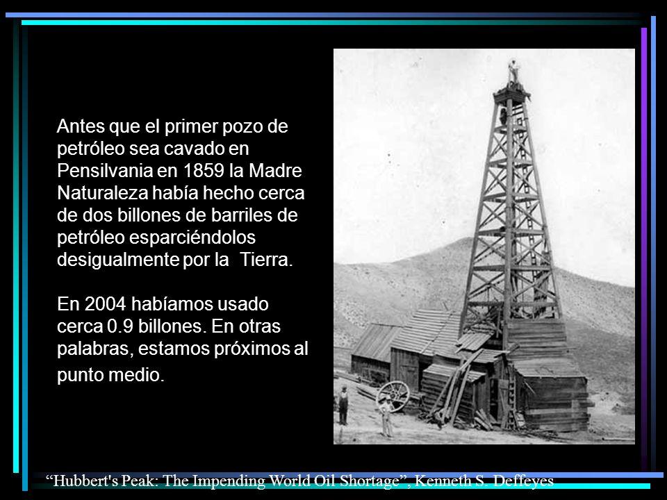 …y a eso es lo que los peritos llaman el Pico del Petróleo (Peak Oil) http://www.oilcrisis.com/ Acuérdate que ya usamos casi la mitad del petróleo del mundo.