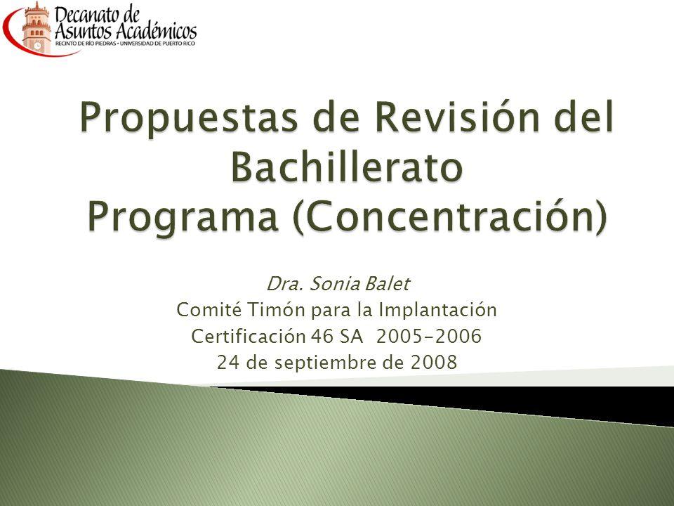 Dra. Sonia Balet Comité Timón para la Implantación Certificación 46 SA 2005-2006 24 de septiembre de 2008
