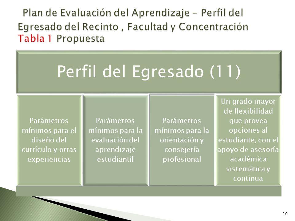 Perfil del Egresado (11) Parámetros mínimos para el diseño del currículo y otras experiencias Parámetros mínimos para la evaluación del aprendizaje es