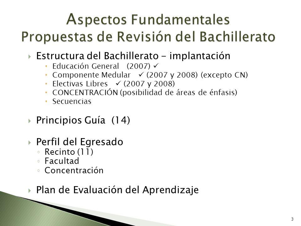 Estructura del Bachillerato - implantación Educación General (2007) Componente Medular (2007 y 2008) (excepto CN) Electivas Libres (2007 y 2008) CONCE