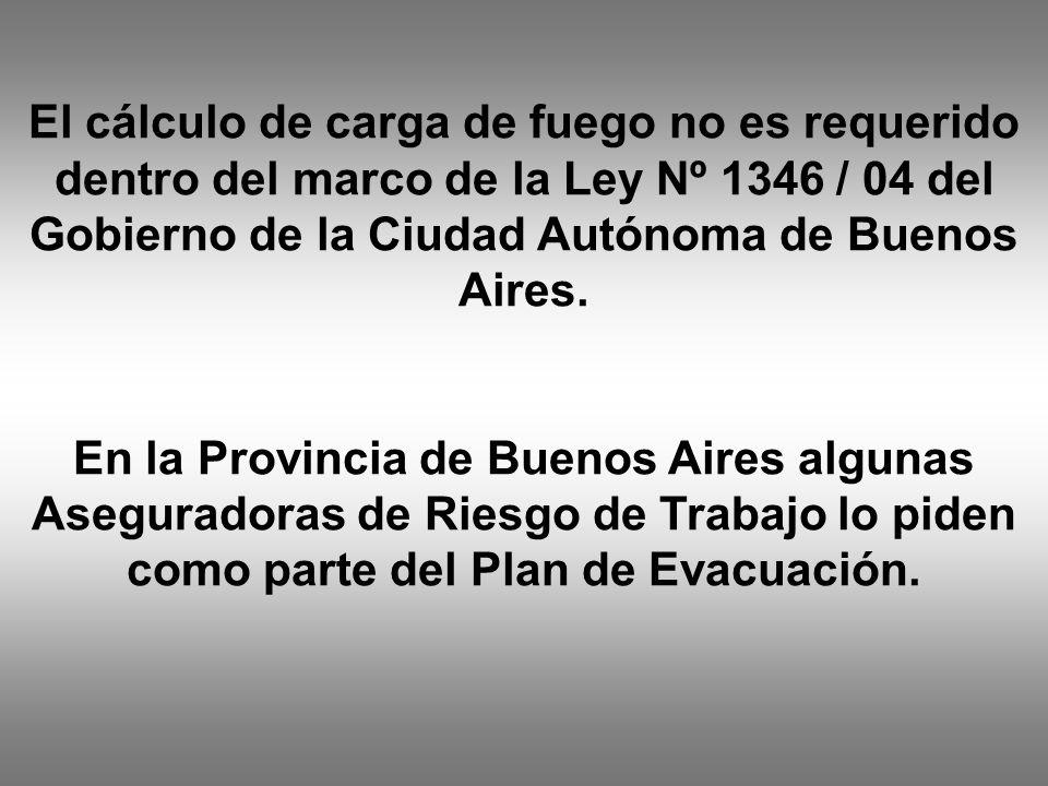 El cálculo de carga de fuego no es requerido dentro del marco de la Ley Nº 1346 / 04 del Gobierno de la Ciudad Autónoma de Buenos Aires. En la Provinc