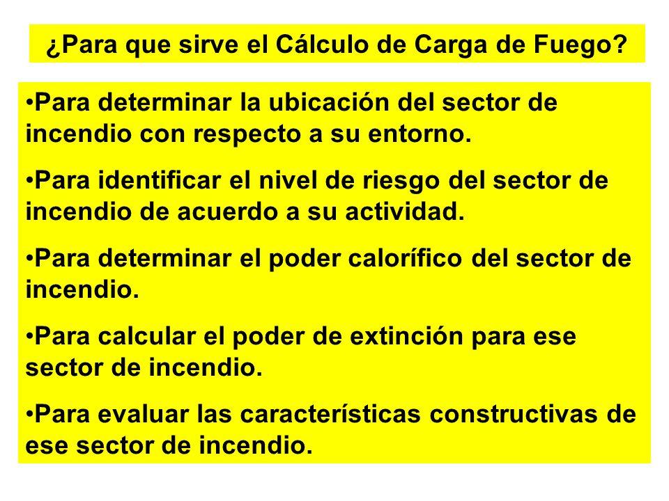 ¿Para que sirve el Cálculo de Carga de Fuego? Para determinar la ubicación del sector de incendio con respecto a su entorno. Para identificar el nivel