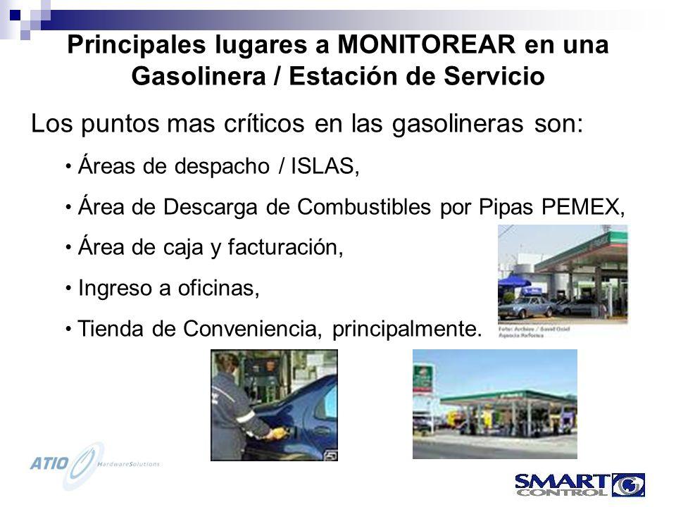 Los puntos mas críticos en las gasolineras son: Áreas de despacho / ISLAS, Área de Descarga de Combustibles por Pipas PEMEX, Área de caja y facturación, Ingreso a oficinas, Tienda de Conveniencia, principalmente.