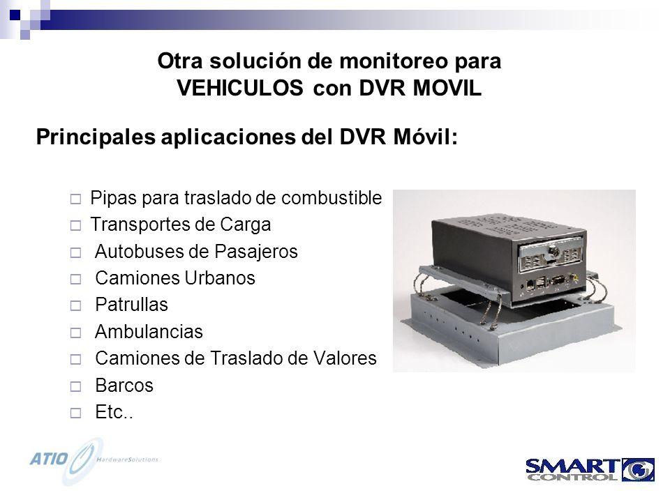 Principales aplicaciones del DVR Móvil: Pipas para traslado de combustible Transportes de Carga Autobuses de Pasajeros Camiones Urbanos Patrullas Ambulancias Camiones de Traslado de Valores Barcos Etc..