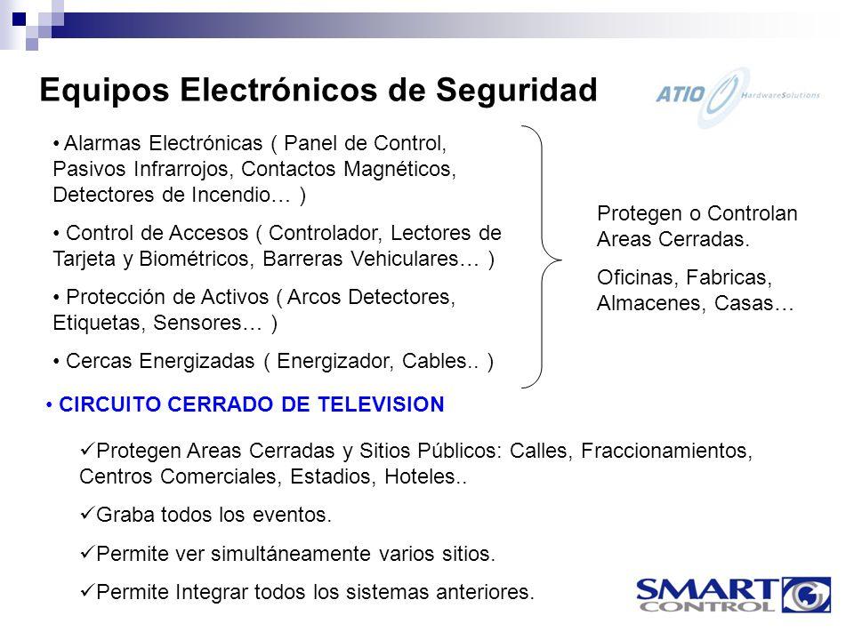 Alarmas Electrónicas ( Panel de Control, Pasivos Infrarrojos, Contactos Magnéticos, Detectores de Incendio… ) Control de Accesos ( Controlador, Lectores de Tarjeta y Biométricos, Barreras Vehiculares… ) Protección de Activos ( Arcos Detectores, Etiquetas, Sensores… ) Cercas Energizadas ( Energizador, Cables..