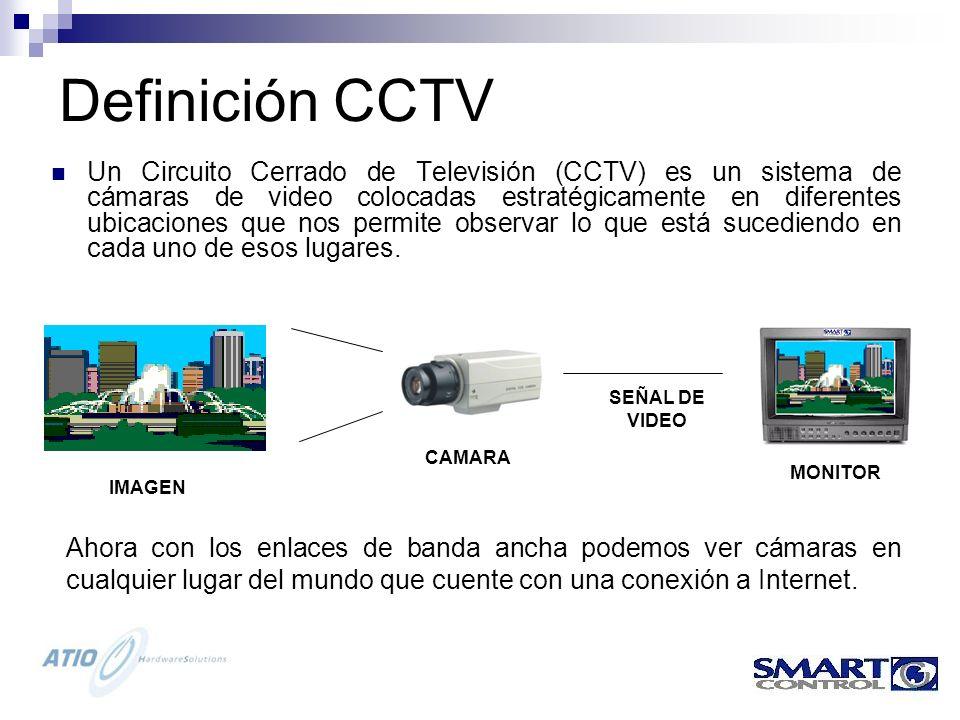 Definición CCTV Un Circuito Cerrado de Televisión (CCTV) es un sistema de cámaras de video colocadas estratégicamente en diferentes ubicaciones que nos permite observar lo que está sucediendo en cada uno de esos lugares.