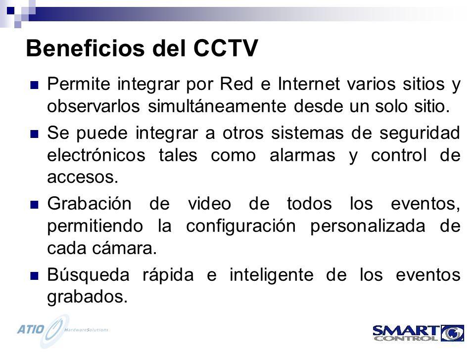 Beneficios del CCTV Permite integrar por Red e Internet varios sitios y observarlos simultáneamente desde un solo sitio.
