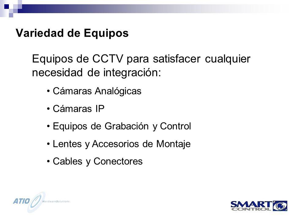 Variedad de Equipos Equipos de CCTV para satisfacer cualquier necesidad de integración: Cámaras Analógicas Cámaras IP Equipos de Grabación y Control Lentes y Accesorios de Montaje Cables y Conectores