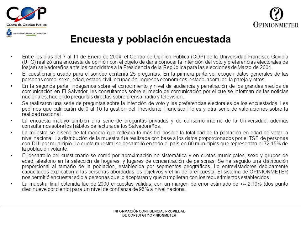 INFORMACIÓN CONFIDENCIAL PROPIEDAD DE COP (UFG) Y OPINIONMETER Encuesta y población encuestada Entre los días del 7 al 11 de Enero de 2004, el Centro