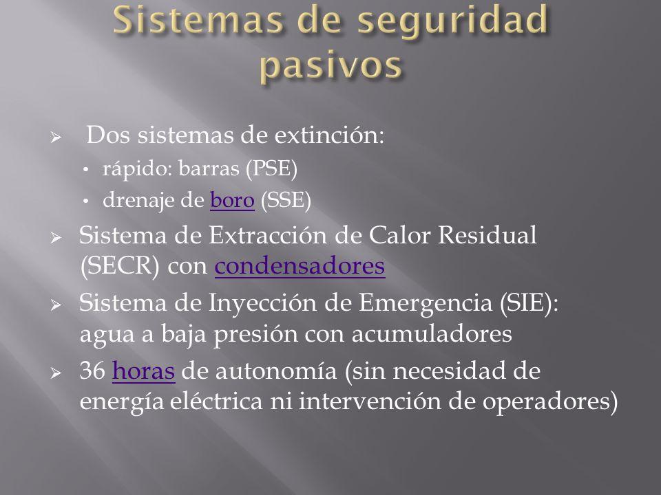 Dos sistemas de extinción: rápido: barras (PSE) drenaje de boro (SSE)boro Sistema de Extracción de Calor Residual (SECR) con condensadorescondensadores Sistema de Inyección de Emergencia (SIE): agua a baja presión con acumuladores 36 horas de autonomía (sin necesidad de energía eléctrica ni intervención de operadores)horas