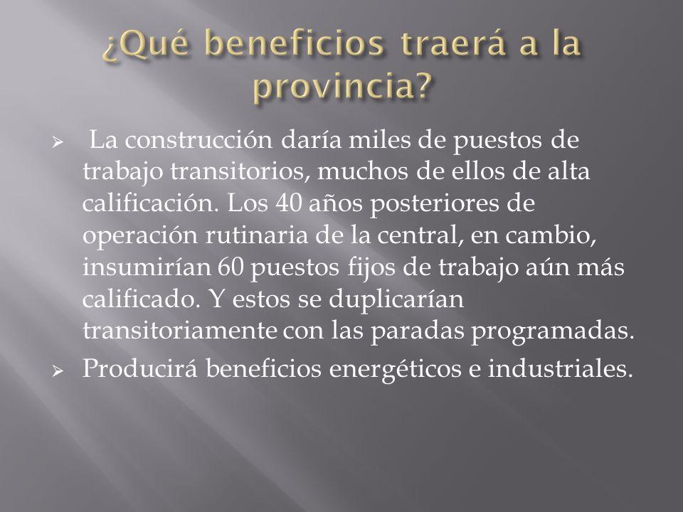 La construcción daría miles de puestos de trabajo transitorios, muchos de ellos de alta calificación.