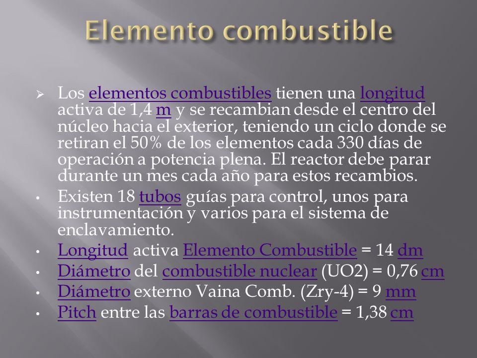 Los elementos combustibles tienen una longitud activa de 1,4 m y se recambian desde el centro del núcleo hacia el exterior, teniendo un ciclo donde se retiran el 50% de los elementos cada 330 días de operación a potencia plena.