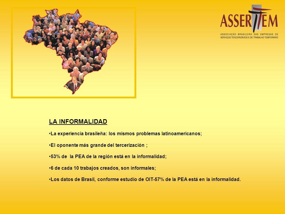 LA INFORMALIDAD La experiencia brasileña: los mismos problemas latinoamericanos; El oponente más grande del tercerización ; 53% de la PEA de la región