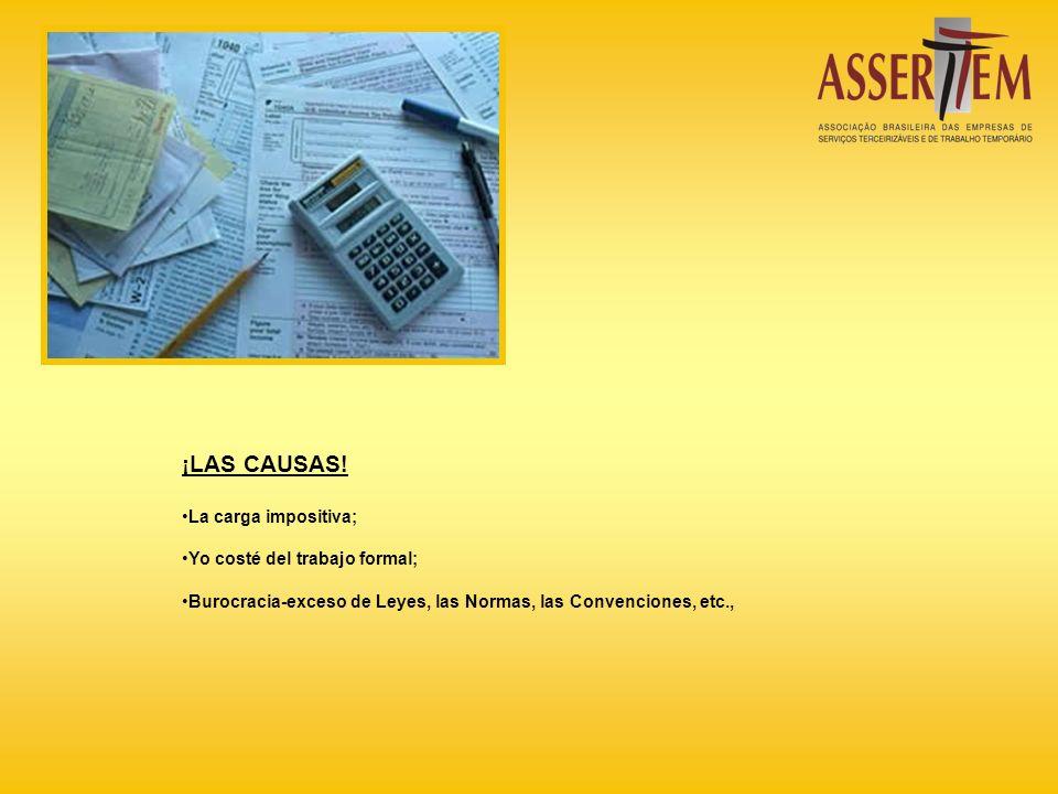 ¡LAS CAUSAS! La carga impositiva; Yo costé del trabajo formal; Burocracia-exceso de Leyes, las Normas, las Convenciones, etc.,