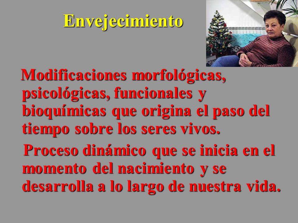 Envejecimiento Modificaciones morfológicas, psicológicas, funcionales y bioquímicas que origina el paso del tiempo sobre los seres vivos. Modificacion