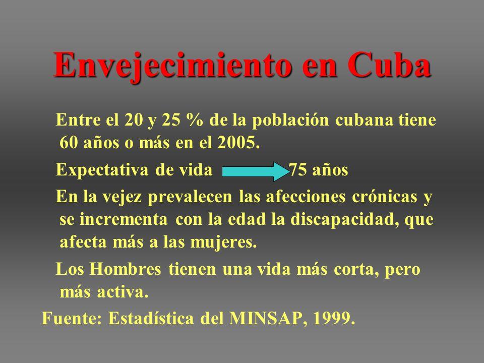 Envejecimiento en Cuba Entre el 20 y 25 % de la población cubana tiene 60 años o más en el 2005. Expectativa de vida 75 años En la vejez prevalecen la