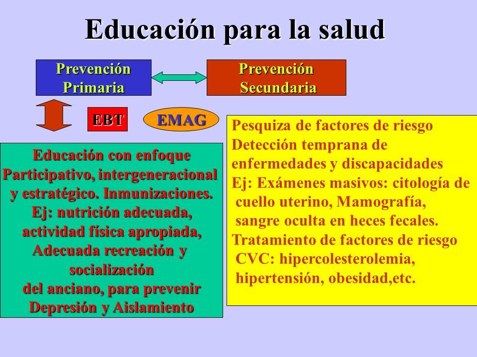 Educación para la salud PrevenciónPrimariaPrevención Secundaria Secundaria Educación con enfoque Participativo, intergeneracional y estratégico. Inmun
