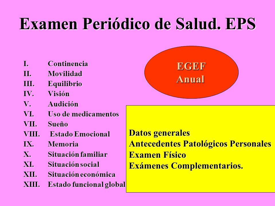Examen Periódico de Salud. EPS I.Continencia II.Movilidad III.Equilibrio IV.Visión V.Audición VI.Uso de medicamentos VII.Sueño VIII. Estado Emocional