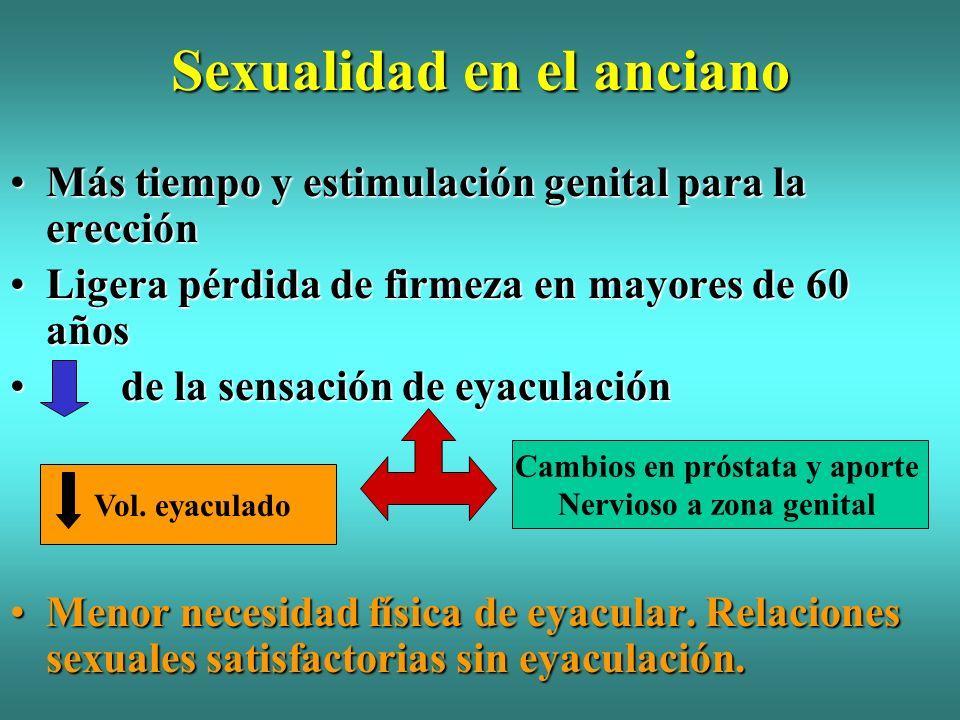 Sexualidad en el anciano Más tiempo y estimulación genital para la erecciónMás tiempo y estimulación genital para la erección Ligera pérdida de firmez