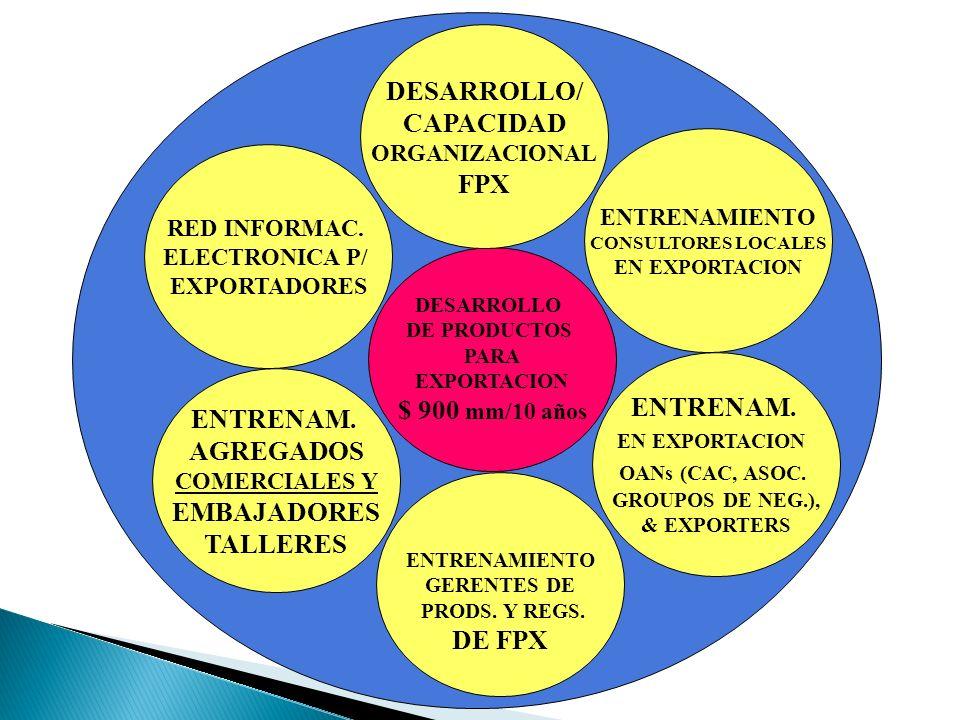 DESARROLLO DE PRODUCTOS PARA EXPORTACION $ 900 mm/10 años DESARROLLO/ CAPACIDAD ORGANIZACIONAL FPX ENTRENAMIENTO GERENTES DE PRODS. Y REGS. DE FPX ENT