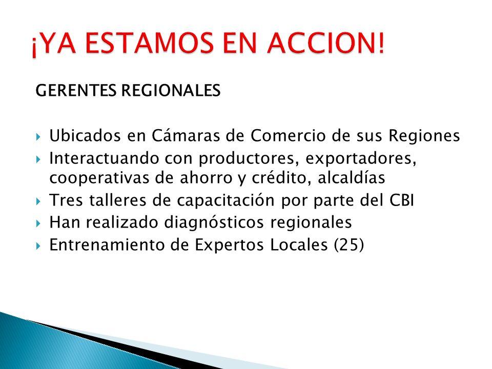 GERENTES REGIONALES Ubicados en Cámaras de Comercio de sus Regiones Interactuando con productores, exportadores, cooperativas de ahorro y crédito, alc